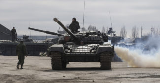 epa06663574 Pro-Russian rebels prepare military hardware for a parade to mark 'Victory Day' near of Luhansk, Ukraine, 12 April 2018. The inhabitants of the self-proclaimed Luhansk and Donetsk People's Republics will mark the 73nd anniversary of the then Soviet Red Army's victory over Nazi-Germany in WWII on 09 May 2018.  EPA-EFE/ALEXANDER ERMOCHENKO